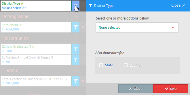 District type filter