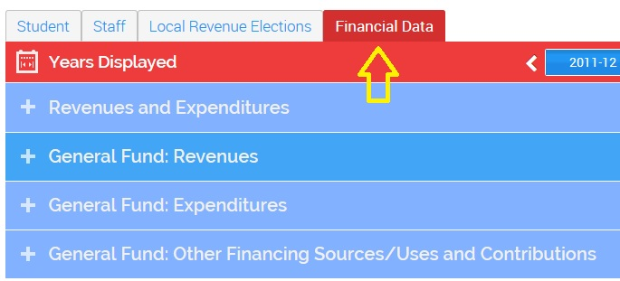 image showing the financial data tab.